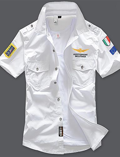 voordelige Herenoverhemden-Heren Standaard Geborduurd Grote maten - Overhemd Katoen Letter Opstaande boord Marineblauw / Korte mouw