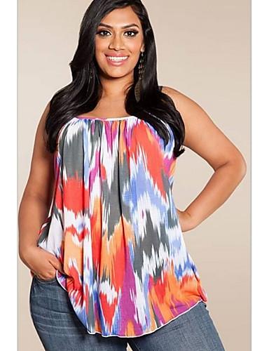 billige T-skjorter til damer-Tynn U-hals T-skjorte Dame - Ensfarget / Geometrisk, halo-farging Grunnleggende Blå