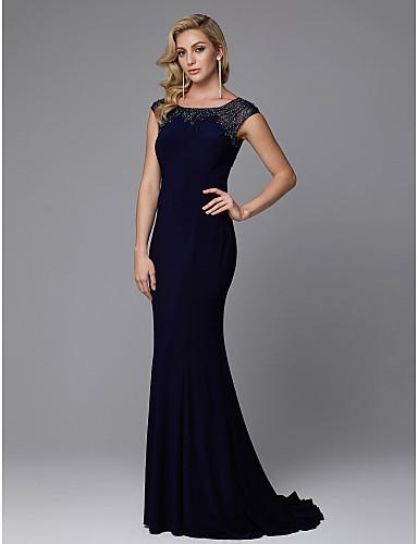 Sirena kroj Ovalni izrez Jako kratki šlep Žersej Vintage inspirirano Prom / Formalna večer Haljina s Perlica po TS Couture®