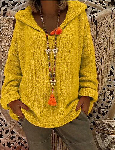 billige Kvinde Toppe-Dame Daglig Afslappet oversize Ensfarvet Langærmet Løstsiddende Normal Pullover Sweater Jumper, Hætte Sort / Lysegrå / Hvid S / M / L