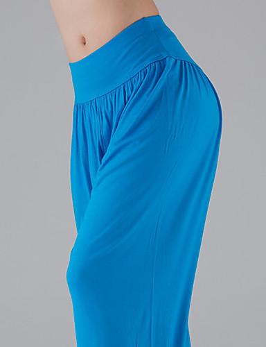 povoljno Odjeća za fitness, trčanje i jogu-Žene Visoki struk Harem hlače Hlače za jogu Jednobojni Royal Blue Burgundac Pamuk Modal Zumba Trbušni ples Pilates ženske sportske hlače 3/4 Capri hlače Donji Veći konfekcijski brojevi Odjeća za
