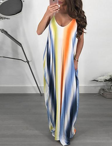 dc2c526ceae2 Women s Daily Beach Basic Maxi Loose Shift Dress - Striped Rainbow Strap  Spring Cotton Blue Purple L XL XXL 7045836 2019 –  19.79
