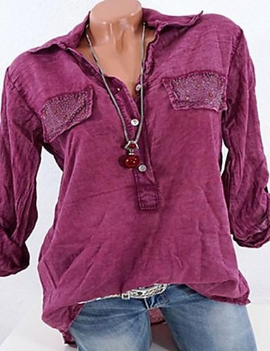 billige Skjorter til damer-Skjortekrage Skjorte Dame - Geometrisk, Drapering Grunnleggende Grå / Vår / Sommer / Høst / Vinter