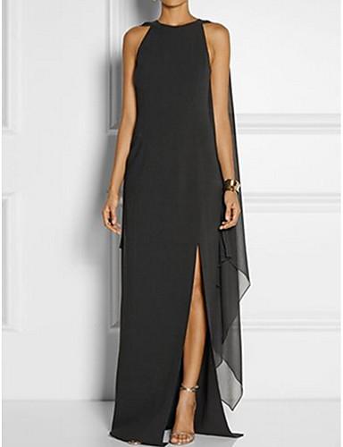 preiswerte Damen Kleider-Damen Übergrössen Party Elegant Etuikleid Kleid - Mehrlagig, Solide Maxi Schwarz