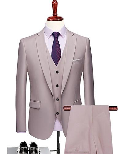 preiswerte Anzüge-Milchiges Weiß Solide Reguläre Passform Polyester Anzug - Fallendes Revers Einreiher - 1 Knopf / Anzüge