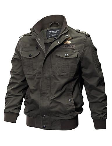 preiswerte Normale Jacken-Herrn Alltag Militär Frühling / Herbst / Winter Übergrössen Standard Jacke, Solide Ständer Langarm Baumwolle Bestickt Schwarz / Armeegrün / Khaki