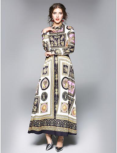 preiswerte Damenbekleidung-Damen Ausgehen / Arbeit Street Schick A-Linie Kleid Blumen Maxi / Midi Hemdkragen