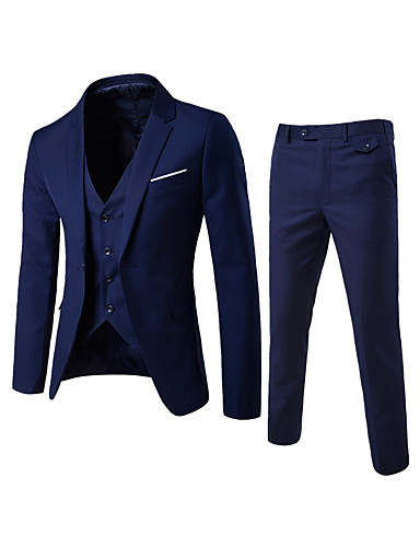 cheap Men's Blazers & Suits-Men's Daily / Going out / Work Street chic Regular Suits, Solid Colored Notch Lapel Cotton / Polyester Wine / Light Blue / Light gray / Business Formal / Slim