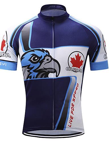 povoljno Odjeća za vožnju biciklom-TELEYI Muškarci Kratkih rukava Biciklistička majica Blue / Bijela Orao Bicikl Biciklistička majica Majice Brdski biciklizam biciklom na cesti Ovlaživanje Quick dry Antibakterijsko djelovanje Sportski
