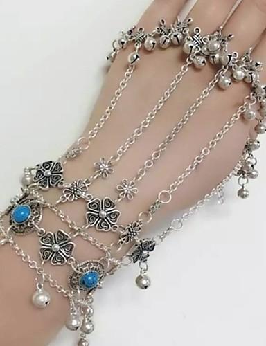 preiswerte Armband Ring-Damen Ring-Armbänder Klassisch damas Böhmische Ethnisch Aleación Armband Schmuck Silber Für Bikini Cosplay Kostüme