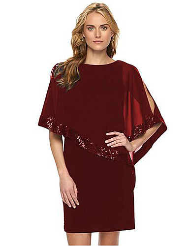 preiswerte Kleider aus Chiffon-Damen Übergrössen Ausgehen Anspruchsvoll Chiffon Kleid - Pailletten, Solide Knielang