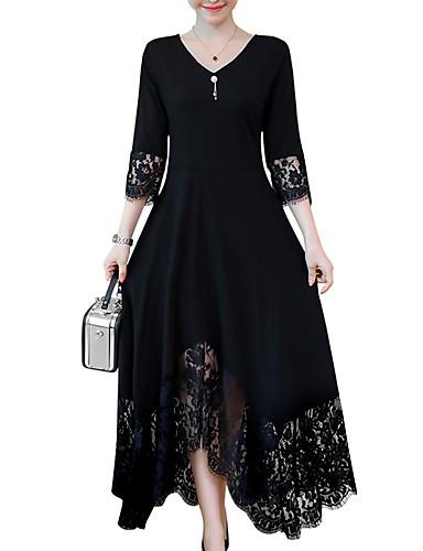 preiswerte Herbst- und Winterkleider-Damen Übergrössen A-Linie Kleid - Spitzenbesatz, Solide Maxi V-Ausschnitt Schwarz