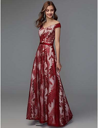 A-kroj V izrez Do poda Čipka Formalna večer Haljina s Traka / vrpca po TS Couture®
