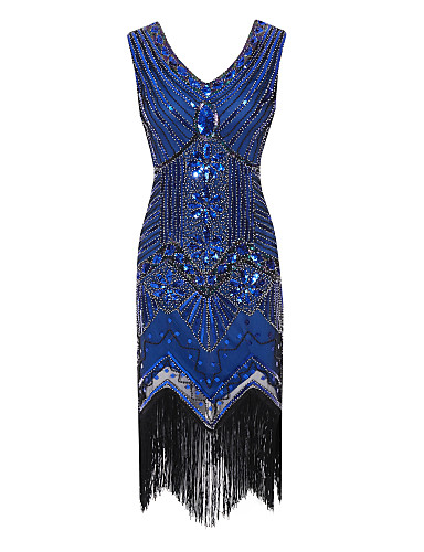 cheap Special Occasion Dresses-The Great Gatsby Charleston Sheath / Column Flapper 1920s Fashion Party Wear Cocktail Party Dress V Neck Sleeveless Tea Length Polyester with Crystals Tassel 2020