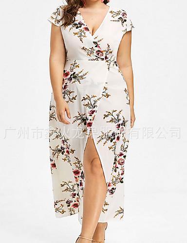 voordelige Grote maten jurken-Dames Grote maten Feest Standaard Ruimvallend Schede Jurk V-hals Asymmetrisch