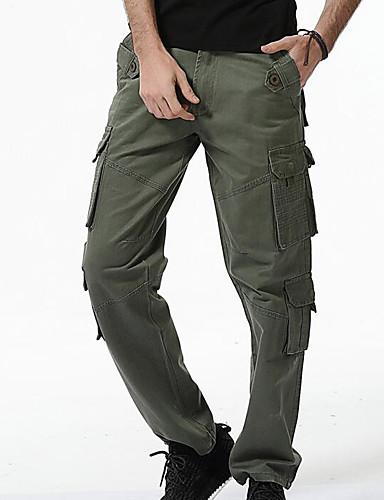 preiswerte Herrenhosen und Shorts-Herrn Grundlegend / Militär Alltag Chinos / Frachthosen Hose - Solide Grau Armeegrün Khaki 34 36 38