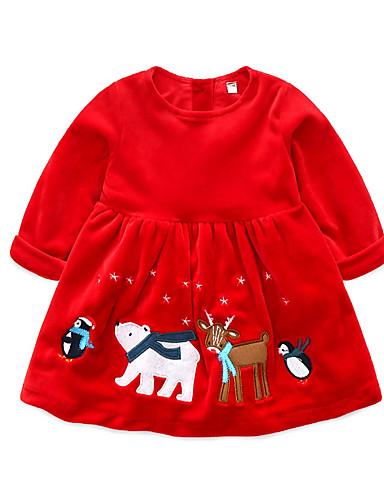 b0bd6ef9c Bebé Chica Básico Estampado Manga Larga Regular Poliéster Vestido Rojo  7057147 2019 –  20.78