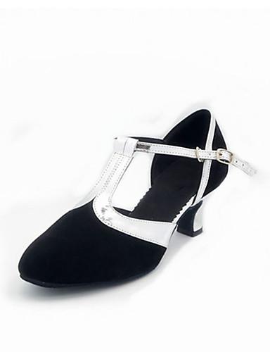 billige Shoes & Bags Must-have-Dame Dansesko Glimtende Glitter / Syntetisk / Fløyel Sko til latindans Paljett / Appliqué / Gummi Sandaler / Høye hæler Kubansk hæl Kan ikke spesialtilpasses Sølv / Blå / Gull / Innendørs / EU42