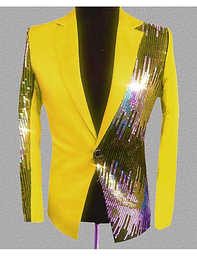 voordelige Herenblazers & kostuums-Heren Dagelijks Standaard Normaal Blazer, Kleurenblok Ingesneden revers Lange mouw Polyester Zwart / Licht Blauw / Paars