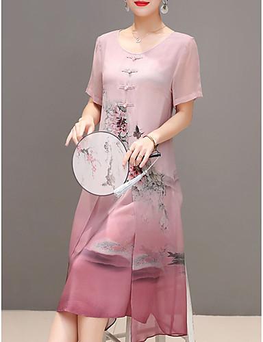 preiswerte Alles unter €12.57-Damen Übergrössen Ausgehen Chinoiserie Chiffon Kleid - Druck, Blumen Midi