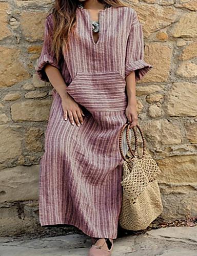 levne Maxi šaty-Dámské Větší velikosti Základní Volné Shift Šaty - Proužky, Tisk Asymetrické Do V