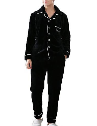 levne Pánské prádlo a plavky-Pánské Košilový límec Kostýmy Pyžama Jednobarevné