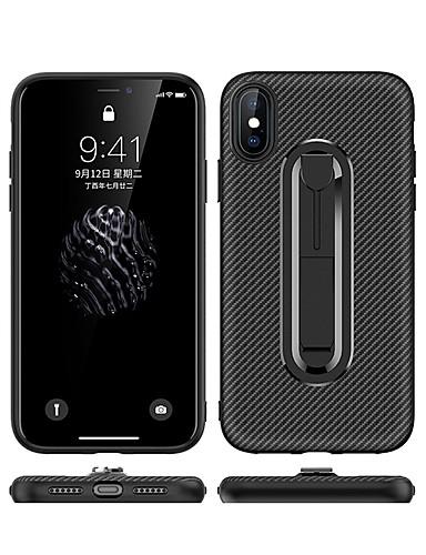 Θήκη Za Apple iPhone XS / iPhone XR / iPhone XS Max sa stalkom Stražnja maska Jednobojni Mekano Carbon Fiber