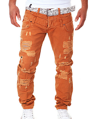 billige Herrebukser og -shorts-Herre Gatemote Daglig Chinos Bukser - Ensfarget Svart Oransje Marineblå 28 / 30 / 32