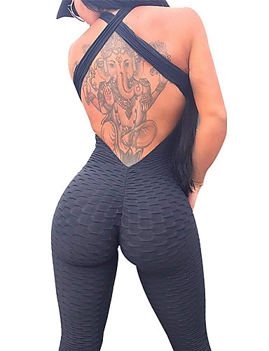 cheap Exercise, Fitness & Yoga-Women's Workout Jumpsuit Ruched Butt Lifting White Black Purple Spandex Yoga Gym Workout Fitness High Waist Leggings Bodysuit Romper Sport Activewear Tummy Control 4 Way Stretch Breathable Quick Dry