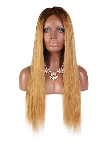 povoljno Perike s ljudskom kosom-Virgin kosa Remy kosa Full Lace Perika Srednji dio Stražnji dio S konjskim repom Wendy stil Brazilska kosa Prirodno ravno Silky Straight Svjetlosmeđ Perika 130% Gustoća kose Nježno Prirodna linija za