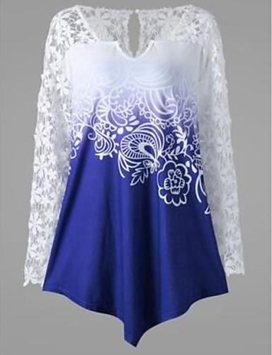 billige T-skjorter til damer-Store størrelser T-skjorte Dame - Ensfarget / Geometrisk Grunnleggende Grønn