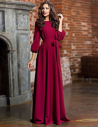 cheap Women's Clothing-Women's Party Daily Basic Maxi Swing Dress High Waist Cotton Blue Green Wine M L XL