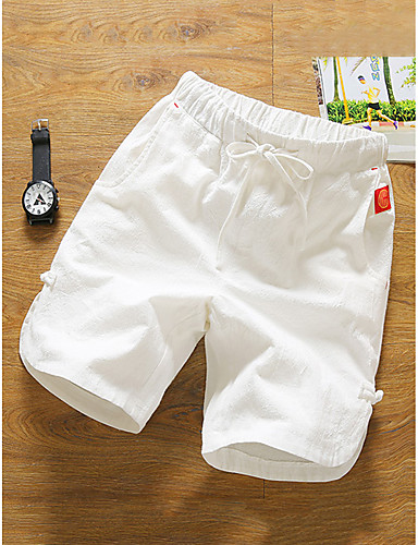 preiswerte Ausverkauf-Herrn Grundlegend Alltag Chinos / Kurze Hosen Hose - Solide Baumwolle / Leinen Sommer Schwarz Marineblau Grau XXXL XXXXL XXXXXL