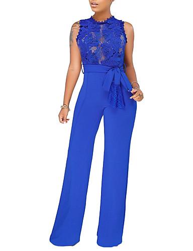Femme Quotidien / Sortie Basique / Chic de Rue Bleu Noir Vin Ample Combinaison-pantalon, Couleur Pleine Garniture en dentelle M L XL Taille haute Sans Manches Eté