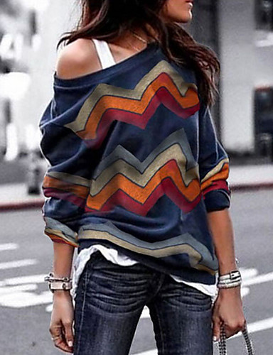 billige Skjorter til damer-Tynn Løse skuldre Skjorte Dame - Ensfarget, Trykt mønster / Enskuldret Grunnleggende Blå / Vår / Sommer / Høst / Vinter