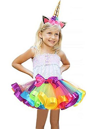 povoljno Maske i kostimi-Karneval Unicorn Kostim Dječji Djevojčice Halloween Halloween Karneval Maškare Festival / Praznik Til Polyster Plava / Pink / Ljubičasta Plava Ženska Karneval kostime Duga