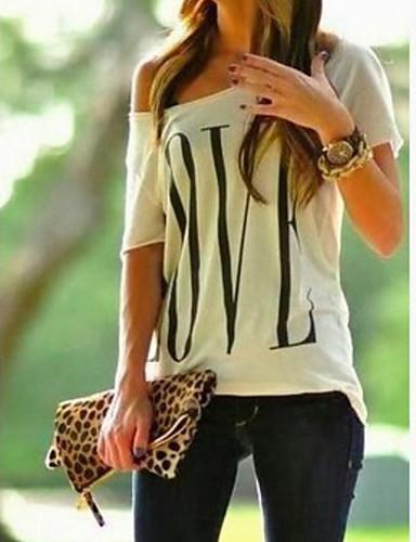 billige Dametopper-Enskuldret T-skjorte Dame - Geometrisk, Enskuldret Grunnleggende Hvit / Vår / Sommer / Høst