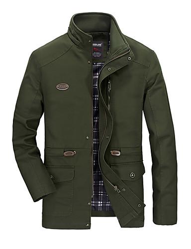 preiswerte Normale Jacken-Herrn Alltag / Wochenende Herbst / Winter Übergrössen Standard Jacke, Solide Ständer Langarm PU Gelb / Armeegrün / Khaki