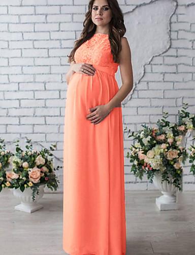 preiswerte Sommer-Limonade-Damen Schwangerschaft Elegant Hülle Kleid Solide Maxi