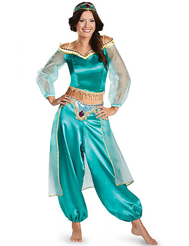 cheap Movie & TV Theme Costumes-Princess Jasmine Cosplay Costume Women's Movie Cosplay Halloween Blue / Fuchsia / Green Top Pants Headband Christmas Halloween Carnival Tulle Polyster
