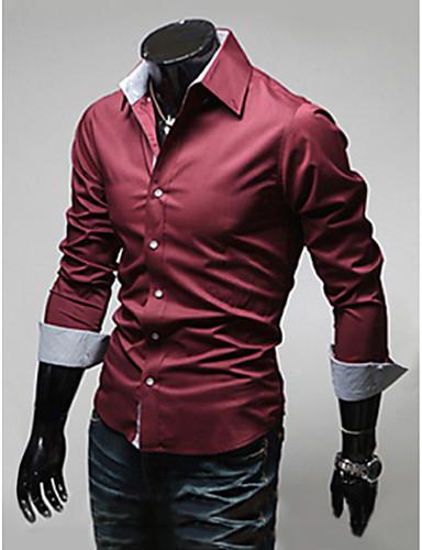 levne Pánské košile-Pánské - Jednobarevné Práce Business Větší velikosti Košile, Základní Široký límeček Štíhlý Černá / Dlouhý rukáv / Jaro / Podzim