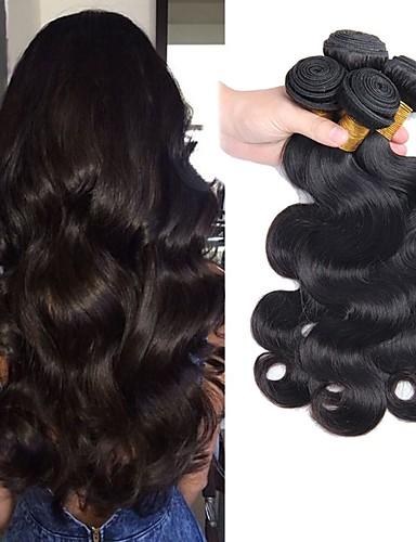 halpa Aitohius irtohiukset-4 pakettia Hiuskudokset Perulainen Runsaat laineet Hiukset Extensions Remy-hius 100% Remy Hair Weave -paketit Hiukset kutoo Aitohiuspidennykset 8-28 inch Luonnollinen väri Luonto musta Shedding