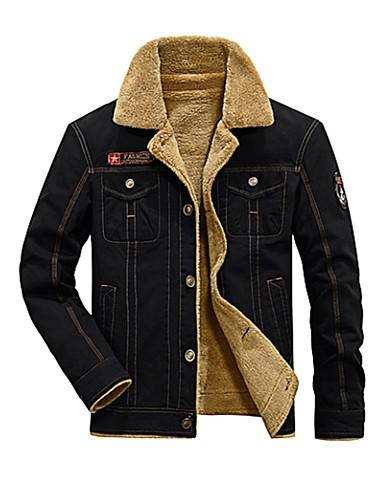 preiswerte Normale Jacken-Herrn Alltag Grundlegend Winter Standard Jacke, Solide Gefaltete Kragen Langarm Kunst-Pelz / Polyester Schwarz / Grün / Khaki