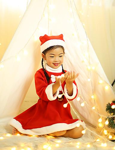 preiswerte Cosplay & Kostüme-Weihnachtskleid Weihnachtsmann kleiden Kinder Mädchen Weihnachten Weihnachten Fest / Feiertage Plüsch Pink Karneval Kostüme Weihnachten