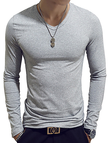cheap Men in home-Stay Cation Men's Daily Weekend Basic Cotton Slim T-shirt - Solid Colored V Neck Light Blue / Long Sleeve / Spring / Fall