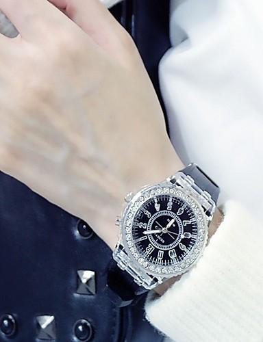 Žene Luxury Watches Sat uz haljinu Diamond Watch Kvarc Silikon Crna / Bijela Svjetleći Velika kazaljka Analog dame Svjetlucavo Moda - Obala Crn