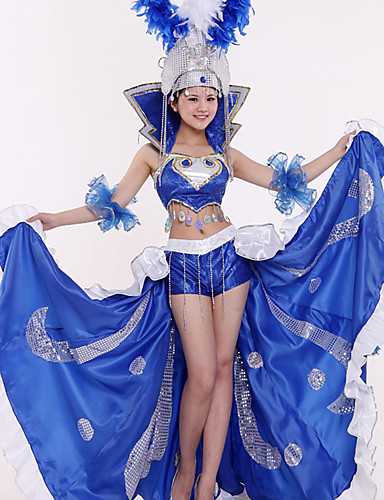 cheap Dancing Costumes-Carnival Spanish Lady Adults' Women's Sequins Flamenco Halloween Costume Feather Samba Headdress For Sequin Polyster Sequin Halloween Carnival Masquerade Skirts Top Headwear