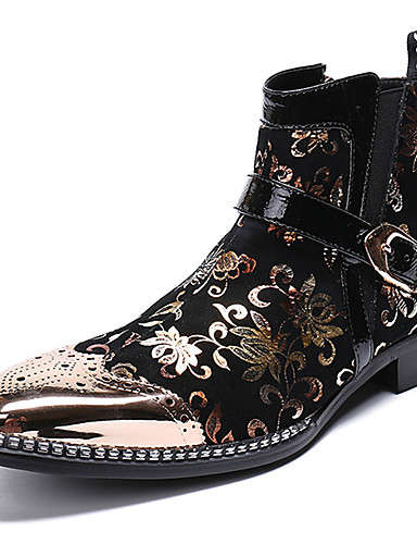 billige Shoes & Bags Must-have-Herre Pen sko Nappa Lær Vinter Fritid / Britisk Støvler Hold Varm Støvletter Svart / Fest / aften / Fest / aften / Fashion Boots / Combat-boots