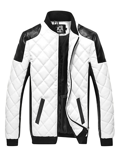 cheap Outerwear-Men's Daily Basic Fall / Winter Plus Size Regular Jacket, Color Block Black & White Stand Long Sleeve PU Patchwork White / Black