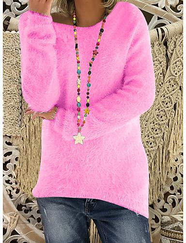 billige Gensere til damer-Dame Daglig Gatemote Ensfarget Langermet Normal Pullover Genserjumper, Rund hals Svart / Hvit / Rosa S / M / L